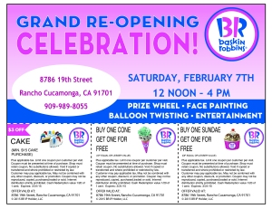 Baskin Robbins Feb 7th Grand opening