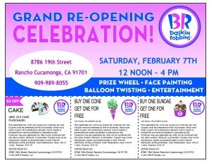 Baskin Robbins Feb 7th Grand opening